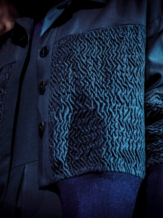 Details of textured jacket by Bodice